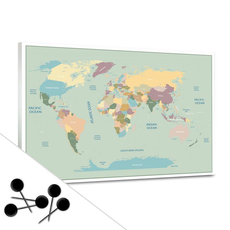 Vintage World Map Bulletin Board | wall-art.com | Travel ...