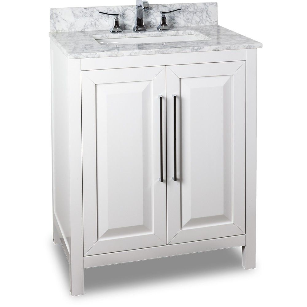 This 30 inch Bathroom Vanity Wite Finish Carrera White Marble Top ...