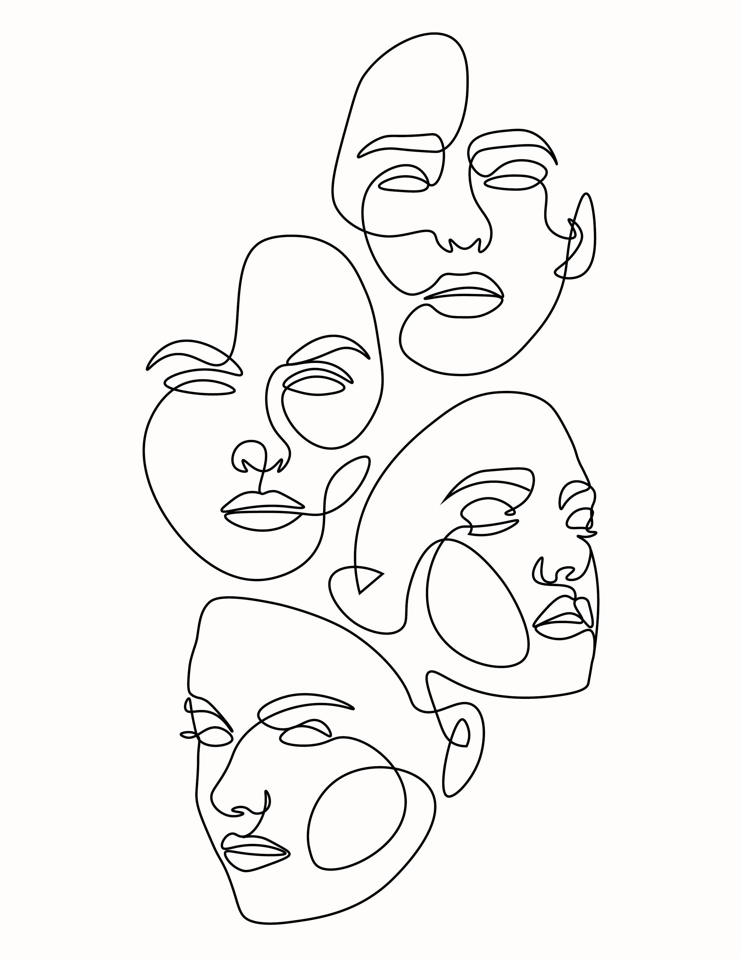 , Multiple Face One Line Art, My Tattoo Blog 2020, My Tattoo Blog 2020