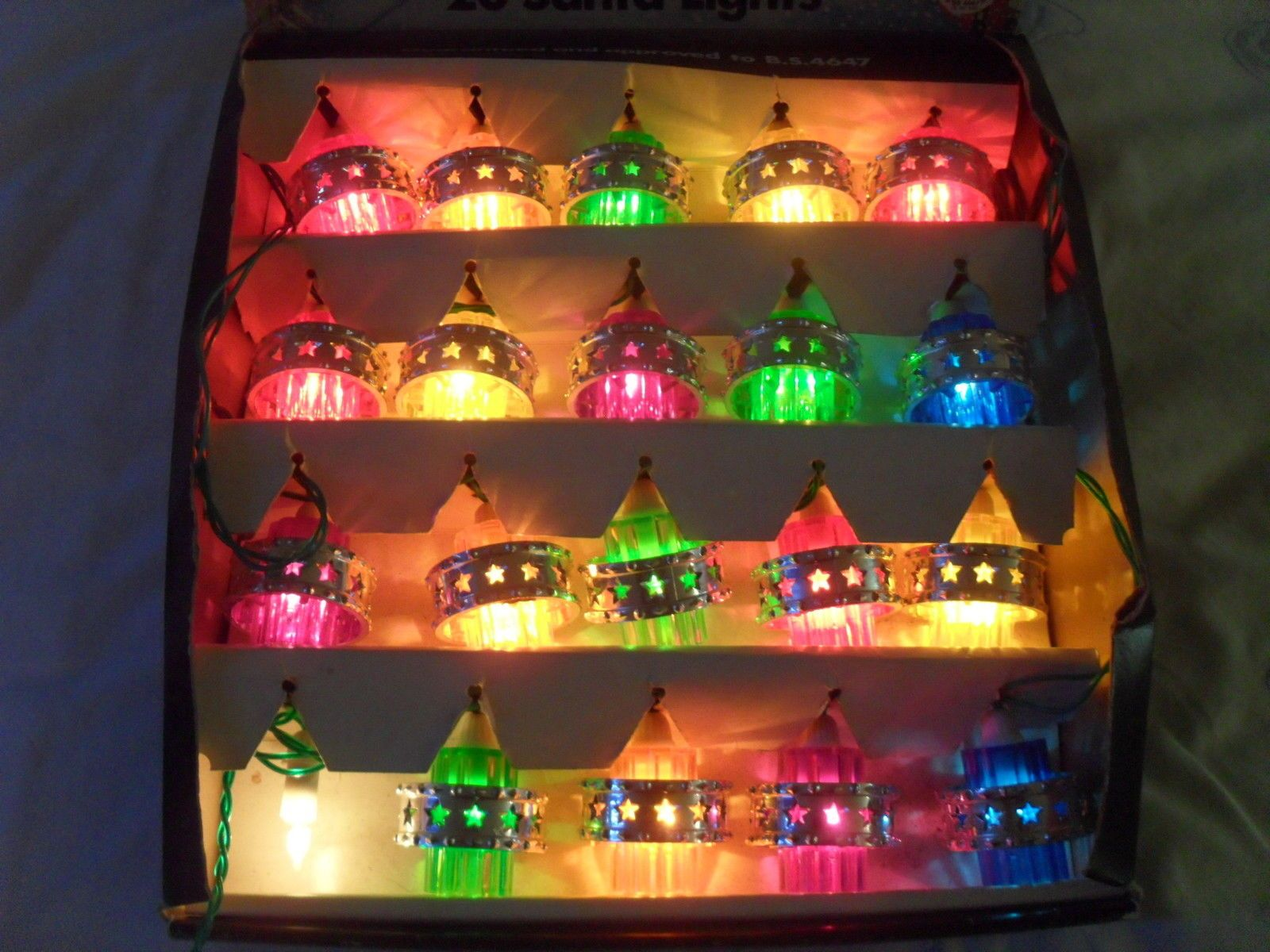 Vintage Christmas Lights 20 Pifco Santa Lights 1970s Fully
