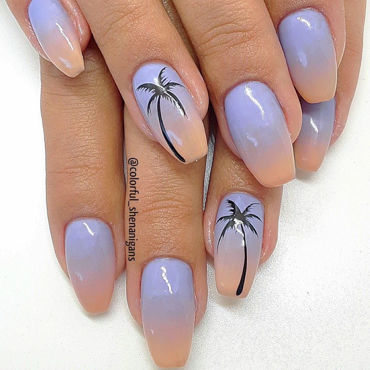 Colorful shenanigans summer ombre fade palm tree nail art