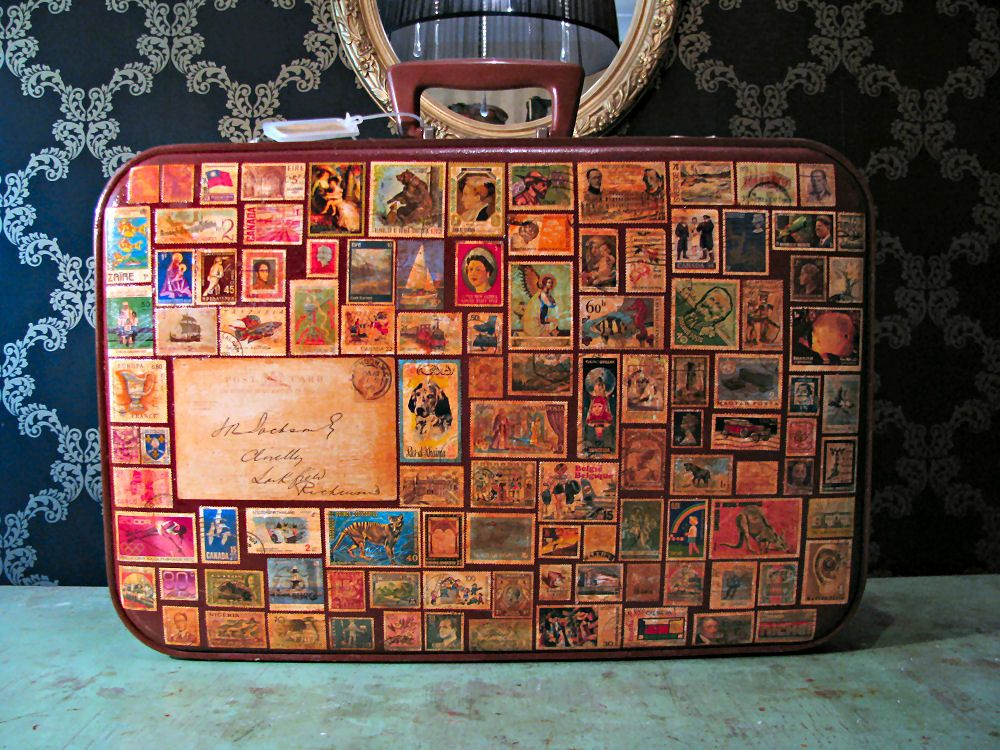 Around the World in 80 Stamps Vintage Travel Luggage Suitcase SALE ...