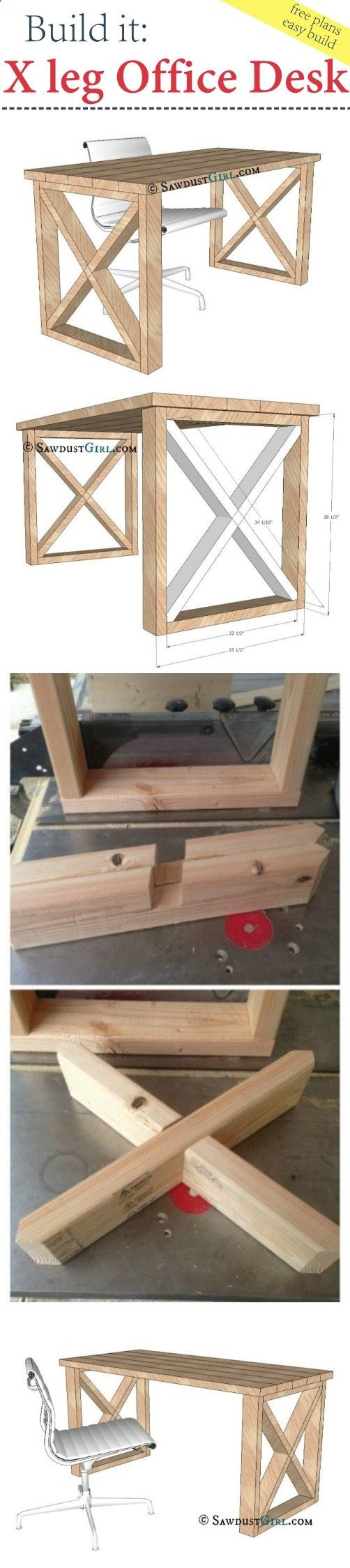 Tedu0027s Woodworking Plans   X Leg Office Desk   Free Plans   Get A Lifetime  Of Project Ideas U0026 Inspiration! Step By Step Woodworking Plans