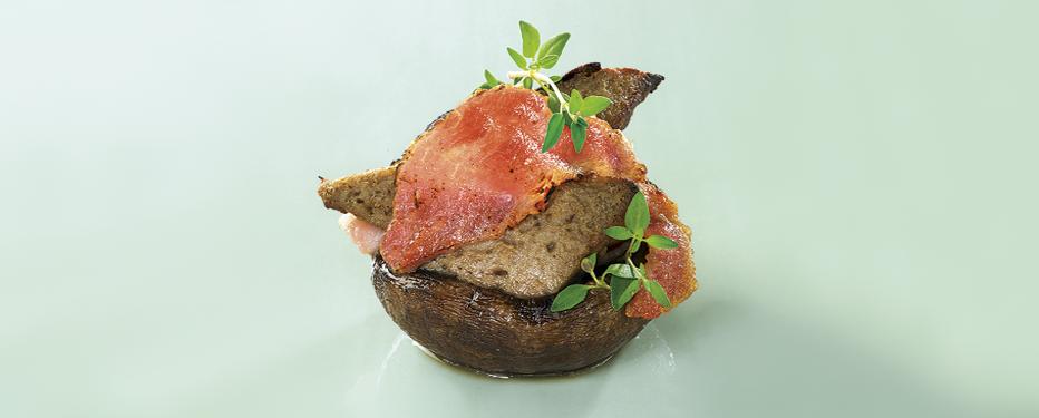 Portobello med leverpostej og bacon