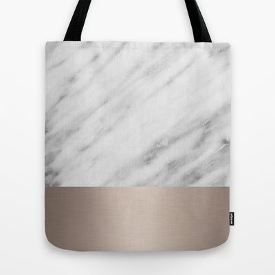 Carrara Italian Marble Holiday White Gold Edition Tote Bag by cafelab - $22.00