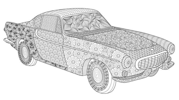 Zentangle Vorlagen Auto Muster Ausmalbild Erwachsene Kompliziert