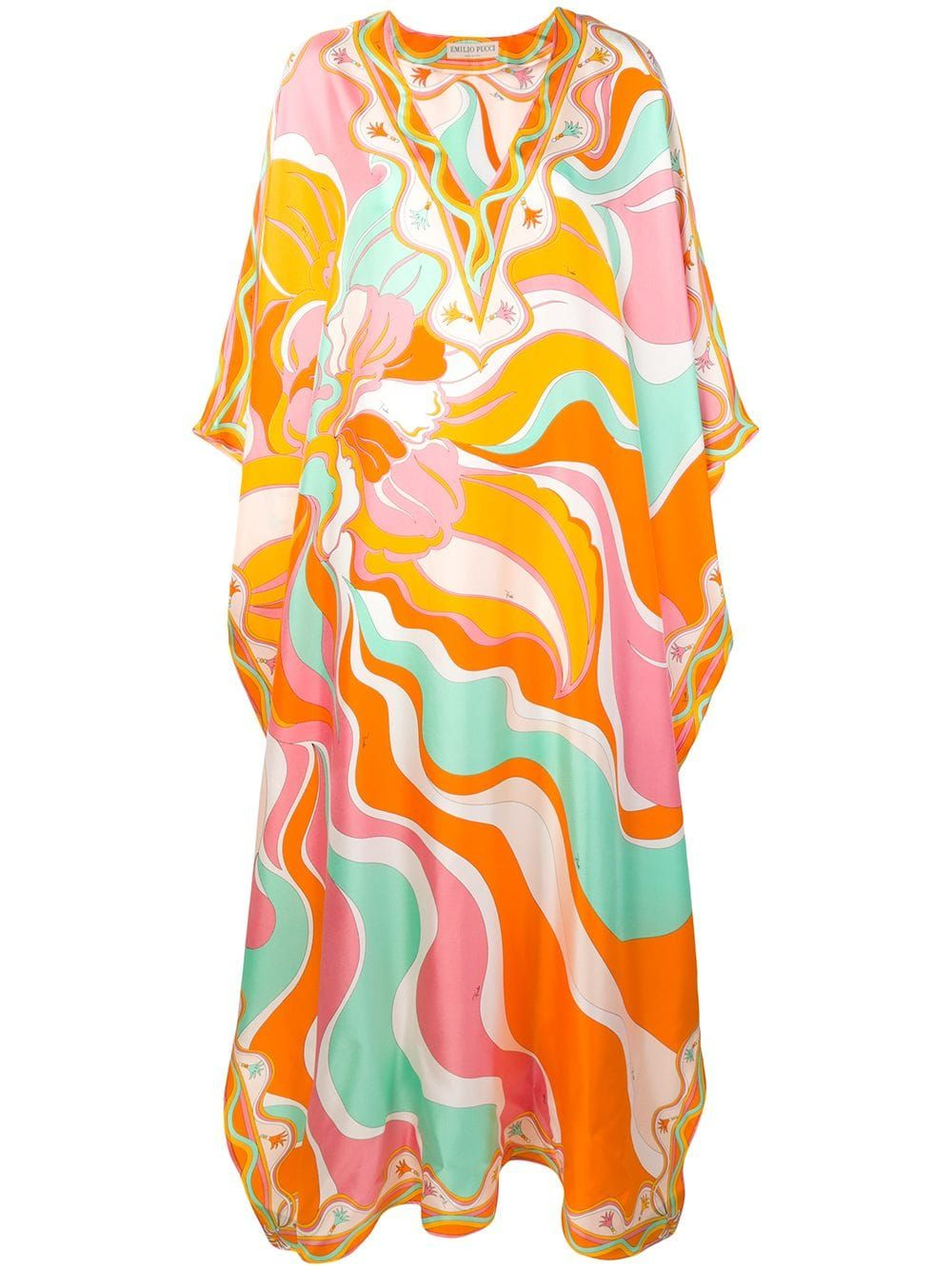 Beach Dress White and Pink Emilio Pucci Printed Dress 100/% Silk