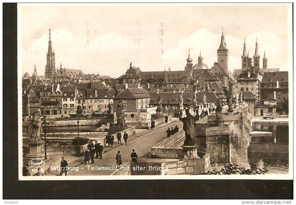 504. Germany, Wurzburg - Teilansicht mit alter Brucke - Stengel - echte real photo - passed post in 1930