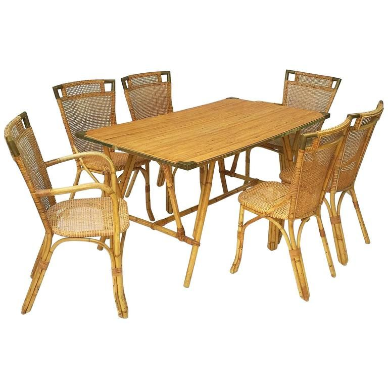 French Bamboo Table and Chairs Set | From a unique collection of antique and modern tables  sc 1 st  Pinterest & French Bamboo Table and Chairs Set (Louis Sognot) | Bamboo table ...