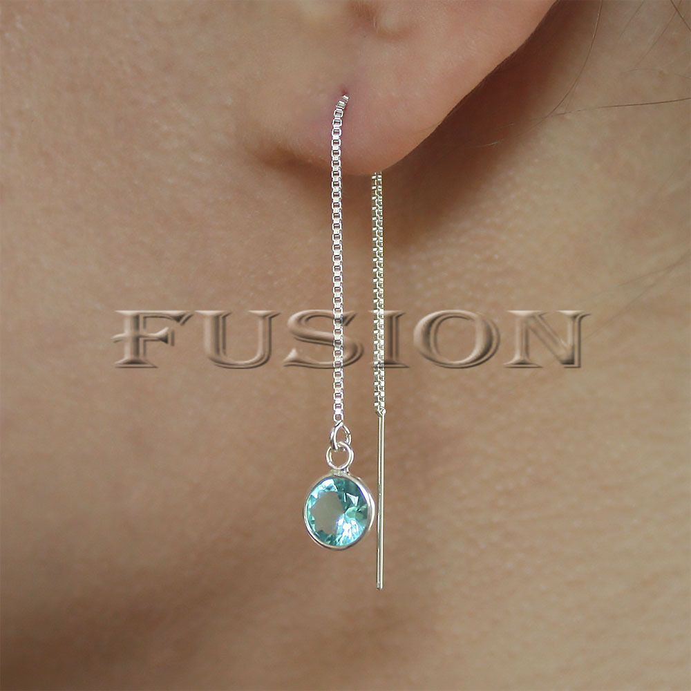 925 Sterling Silver Pull Through Faceted Blue Cubic Zirconia CZ Dangle Earrings