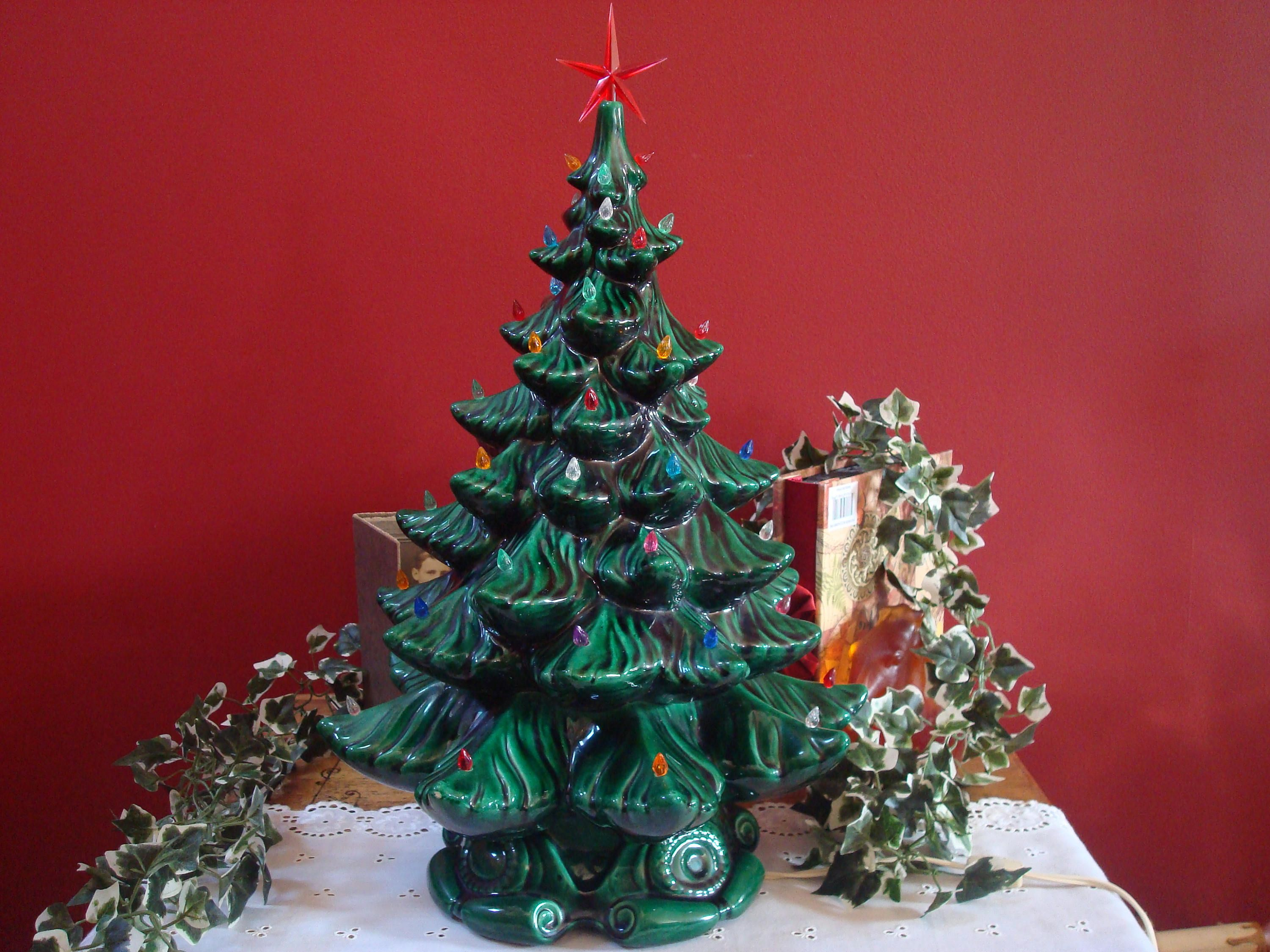 Vintage Extra Large Size Green Ceramic Christmas Tree With Colored