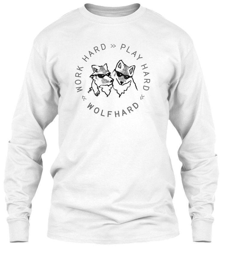 cd06a513 Official Finn Wolfhard Work Hard Play Wolf Gildan Long Sleeve Tee T-Shirt