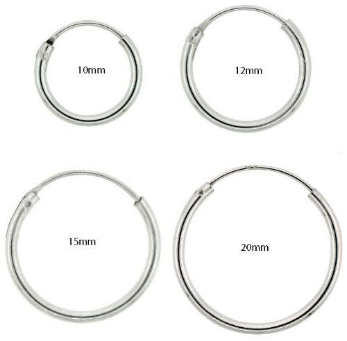 4 Pairs Cartilage Nose Lips Sterling Silver 925 Small Endless Hoop Earrings 10mm 12mm 14mm 20mm