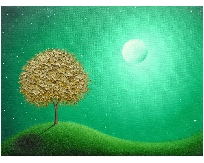 Gold Tree Oil Painting, Modern Abstract Landscape, Green Night, ORIGINAL Tree Painting, Textured Contemporary Art, Whimsical Moon Art, 12x16 by BingArt on Etsy