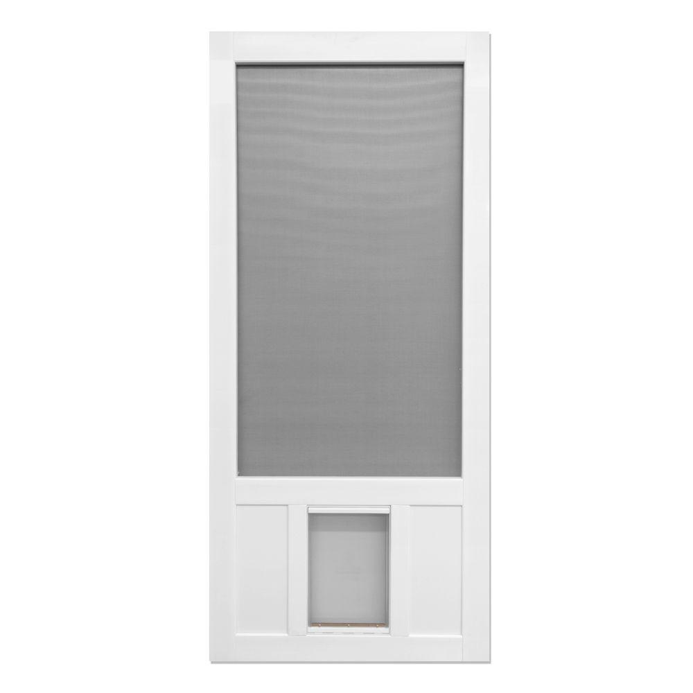 Screen Tight 36 In X 80 In Chesapeake Series Reversible Solid Vinyl Screen Door With Extra Large Pet Flap White Screen Tight Vinyl Screen Doors Screen Door