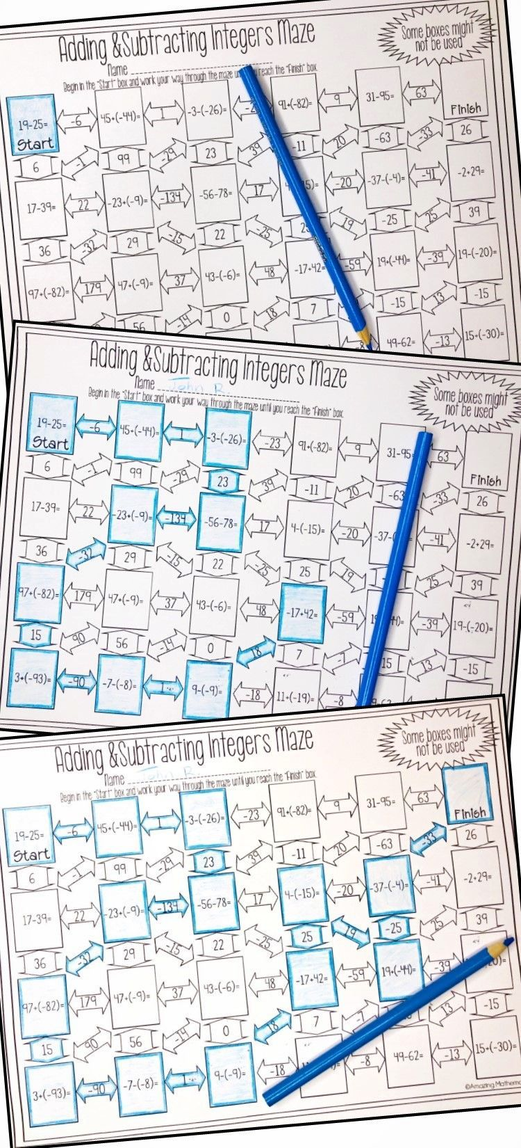 Adding and Subtracting Integers Maze Integers, Adding