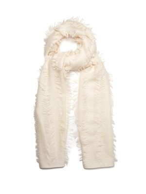 This cream scarf echoes the nonchalant feel of Chloé's ready-to-wear. It's made in Italy from a lightweight blend of wool and silk, and finished with strips of fil coupé for a delicate touch. Layer yours over equally effortless separates.