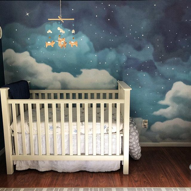 Fantastic Starry Sky Wallpaper Removable Clouds Wall Mural For Home Hallway Bedroom Nursery Kids Wall Paper Self Adhesive Fabric Night Nursery Space Themed Nursery Baby Boy Room Nursery