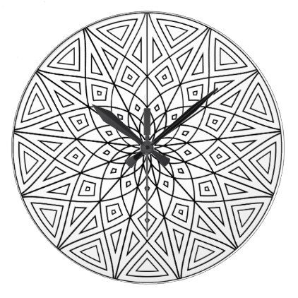 Twelve Point Mandala Large Clock Black Gifts Unique Cool Diy Customize Personaliz Geometric Patterns Coloring Geometric Coloring Pages Designs Coloring Books