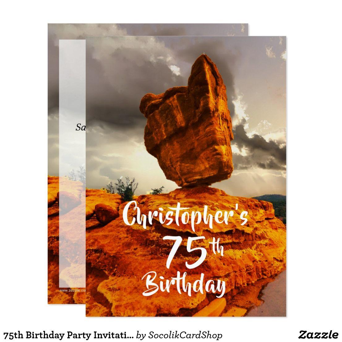 75th Birthday Party Invitation Balanced Rock Card 75th Birthday