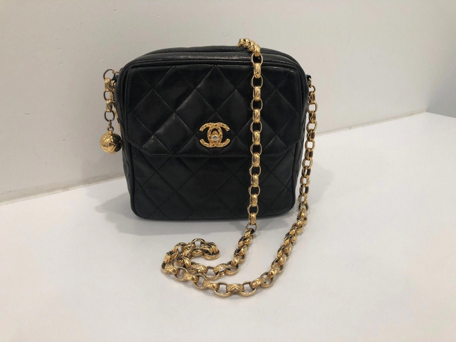 Vintage CHANEL Quilted Black Lambskin Mini Square Crossbody Bag   Chanelhandbags d04c9f62d0f3f