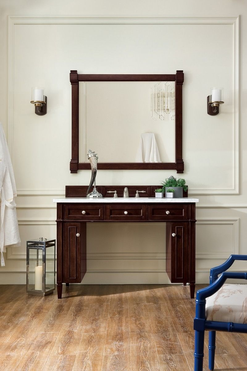 Brittany 48 Single Sink Ada Bathroom Vanity Cabinet Burnished Mahogany Finish Pure White Cou Diy Bathroom Design Bathroom Furniture Design Bathroom Design