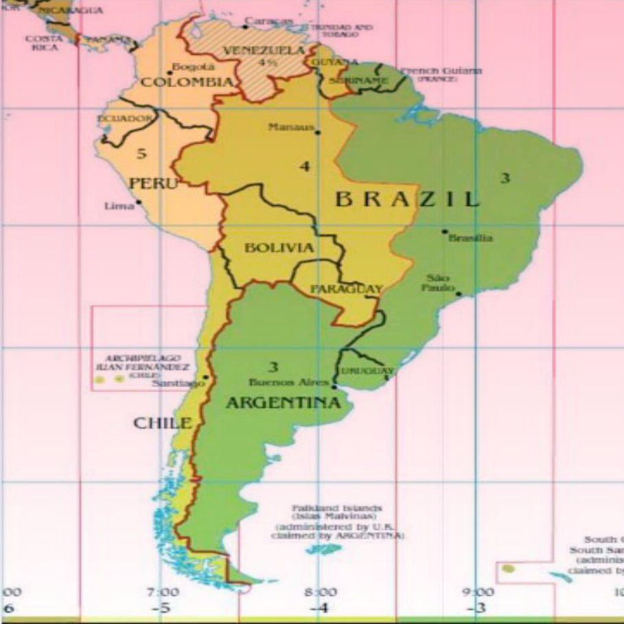 Map Of South America Time Zones.South America Time Zones Timezones Timezones