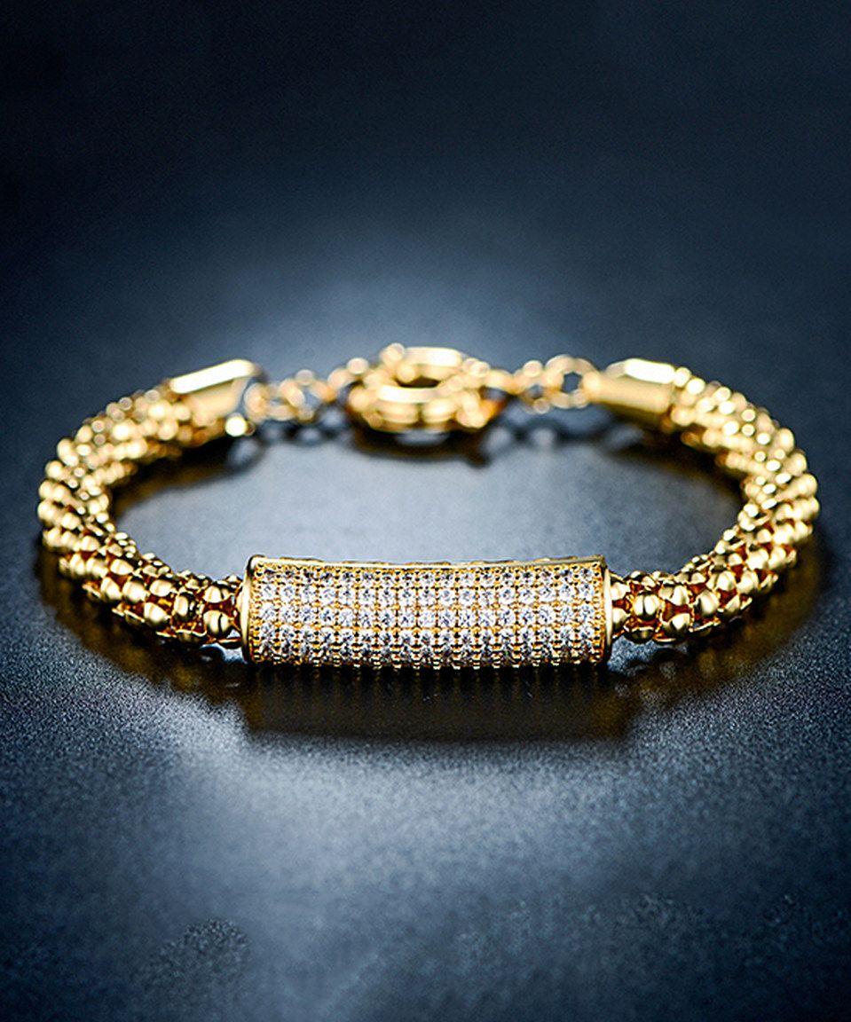 ae331ca605076 This Gold & Swarovski® Crystal Popcorn Bar Bracelet by Barzel is ...