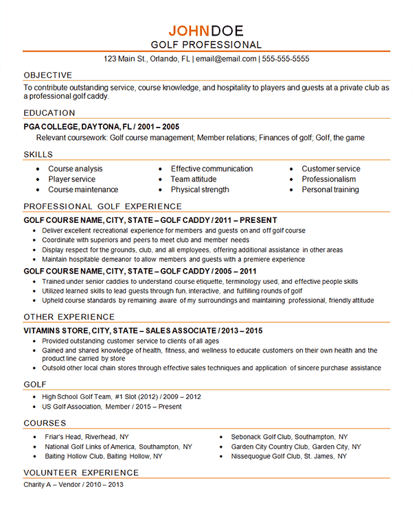 Golf Professional Professional Resume Examples Resume Examples Professional Resume Samples
