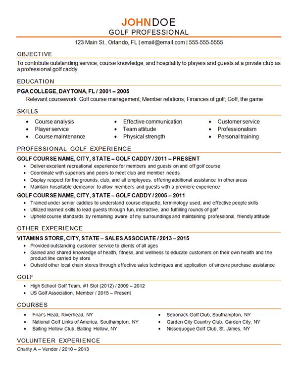 golf professional resume example