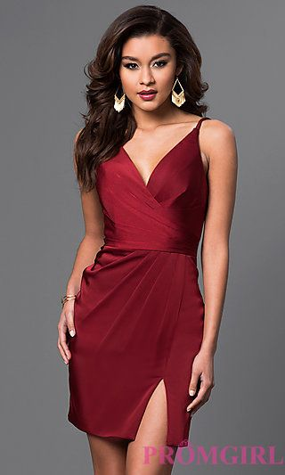 164b5d74cf27 Shop short designer dresses for semi-formal events at PromGirl. Short satin  dresses with v-necks