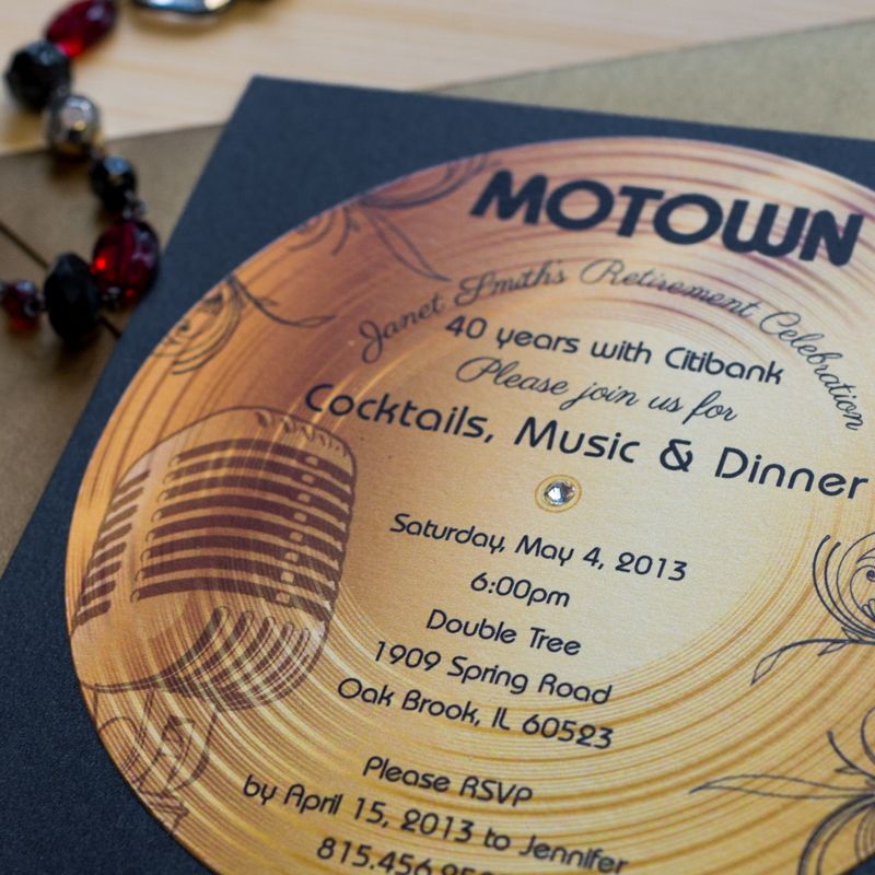 Gold Record Motown Retirement Invitation April