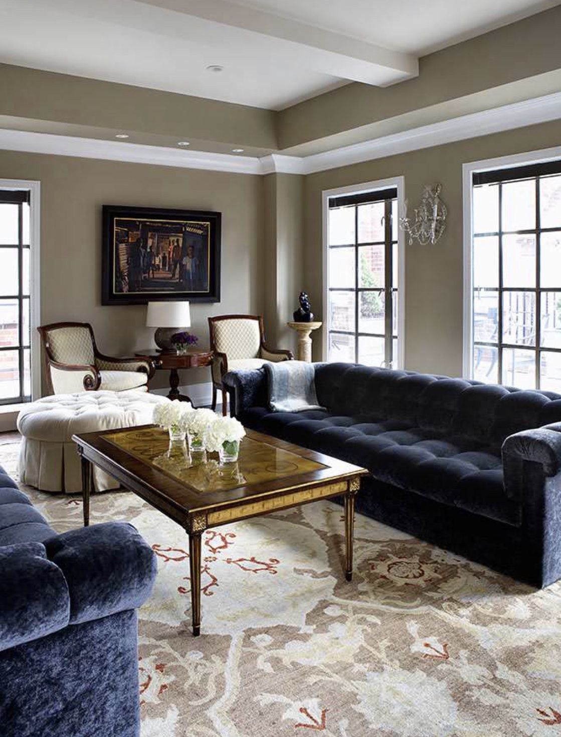 living room decor with black tufted