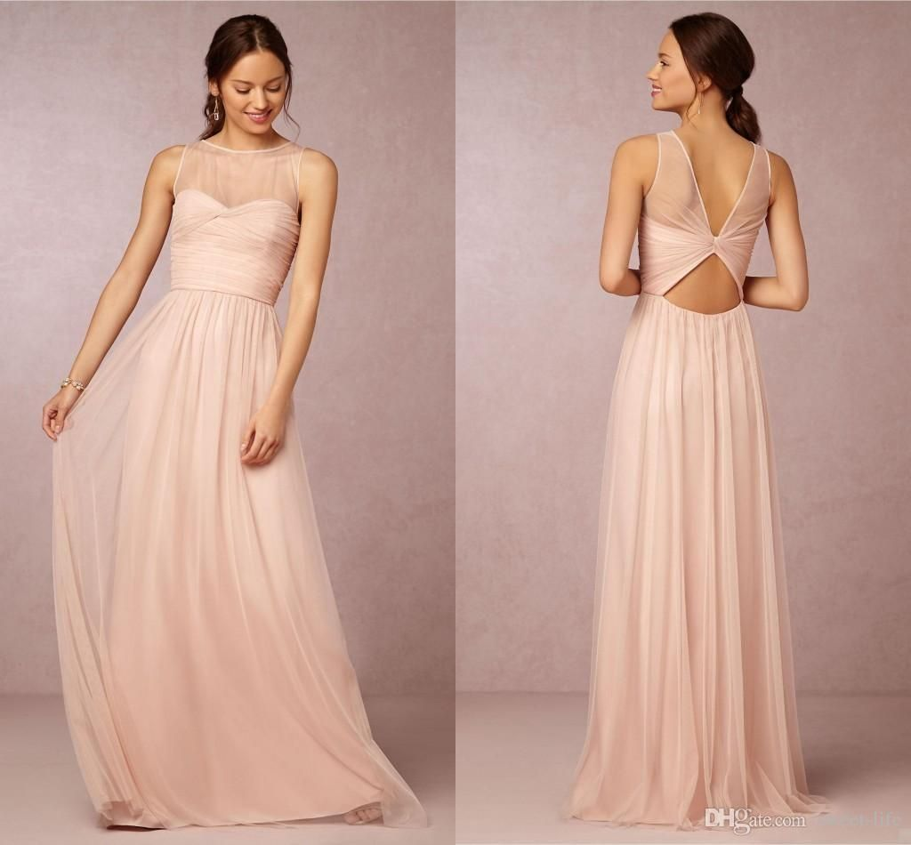 Bridesmaid dresses 2017 hot cheap crew neck tulle blush pink sheer bridesmaid dresses 2017 hot cheap crew neck tulle blush pink sheer illusion hollow back long for ombrellifo Gallery