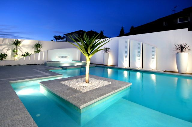 Delightful Bella Vista Waters Residence In Australia By Fluid Design, White Clean Pool  Area _
