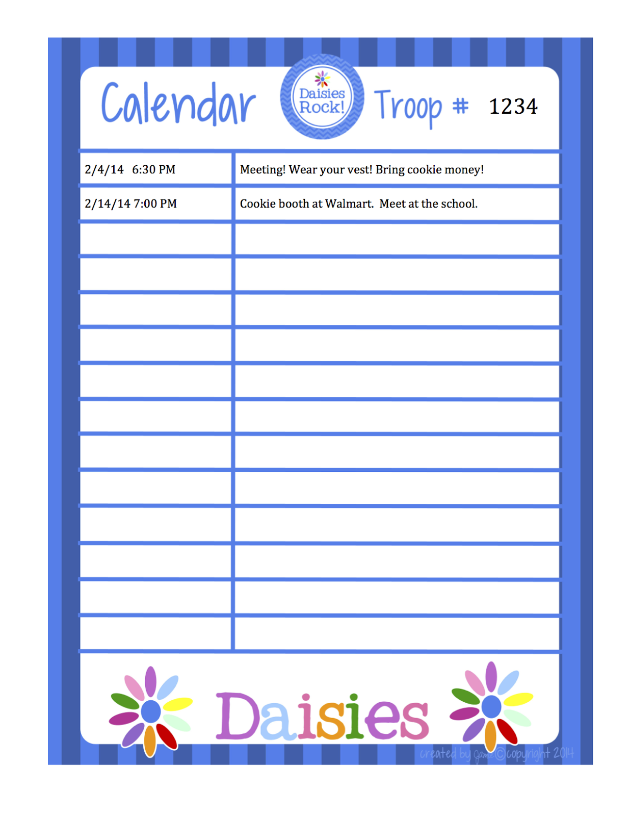 Fashionable moms girl scouts daisies calendar word for Boy scout calendar template