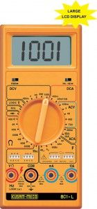 KM-801-KUSAM MECO-LARGE DISPLAY DIGITAL MULTIMETER • Industrial Grade Rugged Digital Multimeter • Sensing : Average • Automatic Zero adjustment. • Peak Hold facility • OverLoad Protection 500V DC or AC rms • Auto range on Frequency range & measurement upto 2 MHz. • Logic Test, Diode & Continuity Test & Transistor hFE Test. • Low battery indication