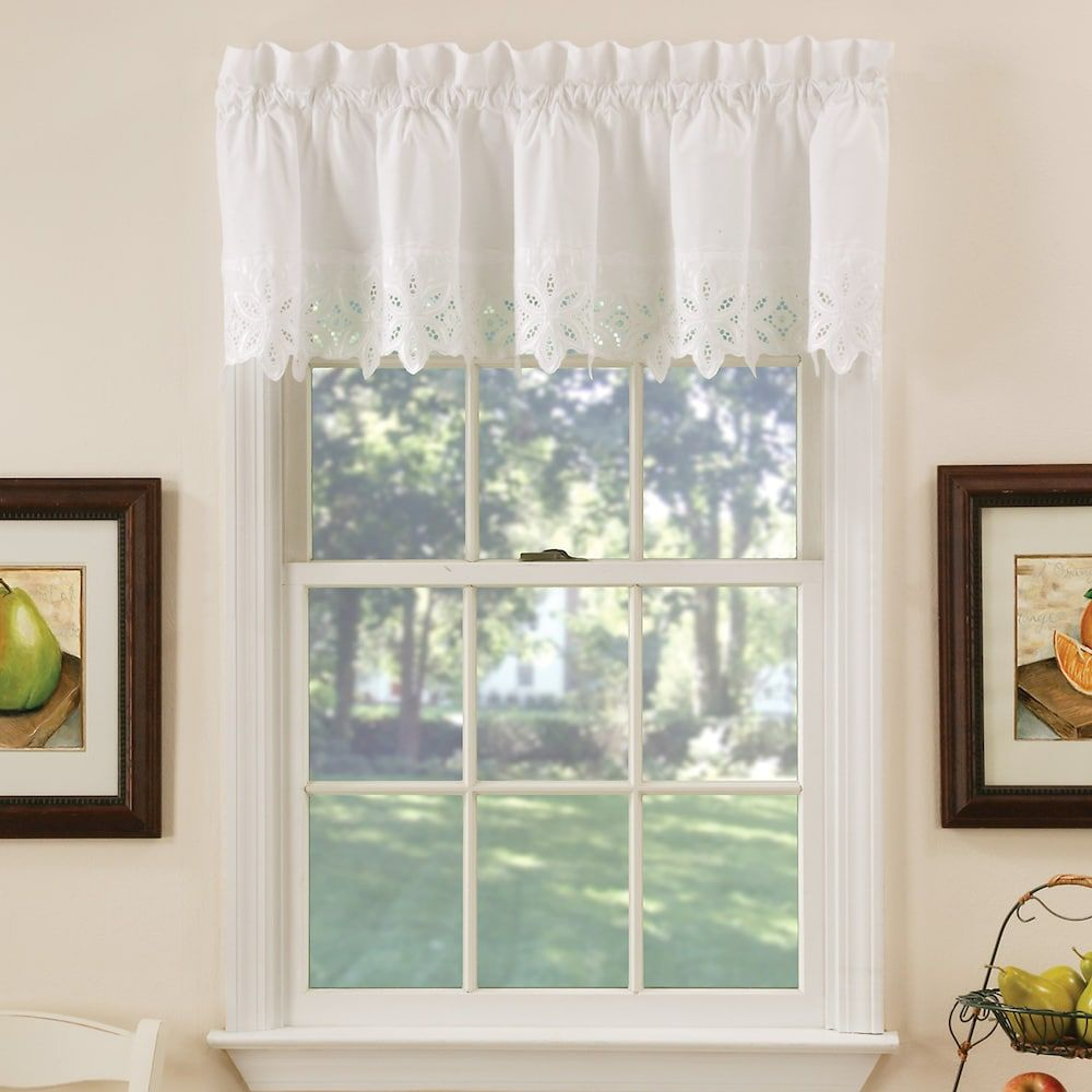 Kitchen window no trim  vcny jenna straight kitchen window valance white in   products