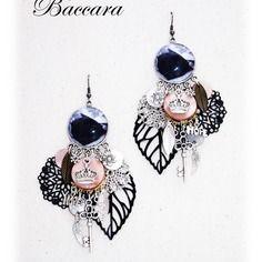 Boucles d'oreilles pendantes - boucles d'oreilles rose noire fait main milacréa