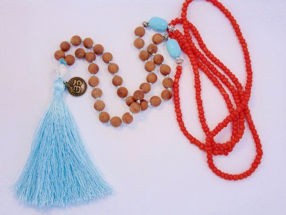 Mala necklace Sandalwood and turquoise with by LDTcreative on Etsy