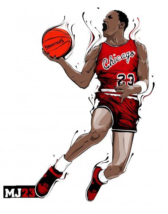 Ilustración Michael Jordan:  Michael Jordan, posiblemente el mejor jugador de baloncesto de toda la historia.