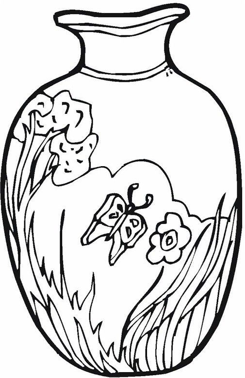 Colouring Pages Of Flowers In Vase : Vase & pottery coloring page vases