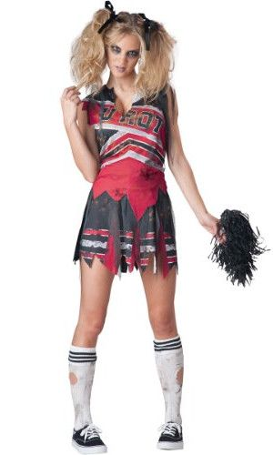 POM POMS FAKE BLOOD ZOMBIE CHEERLEADER HALLOWEEN FANCY DRESS COSTUME TIGHTS