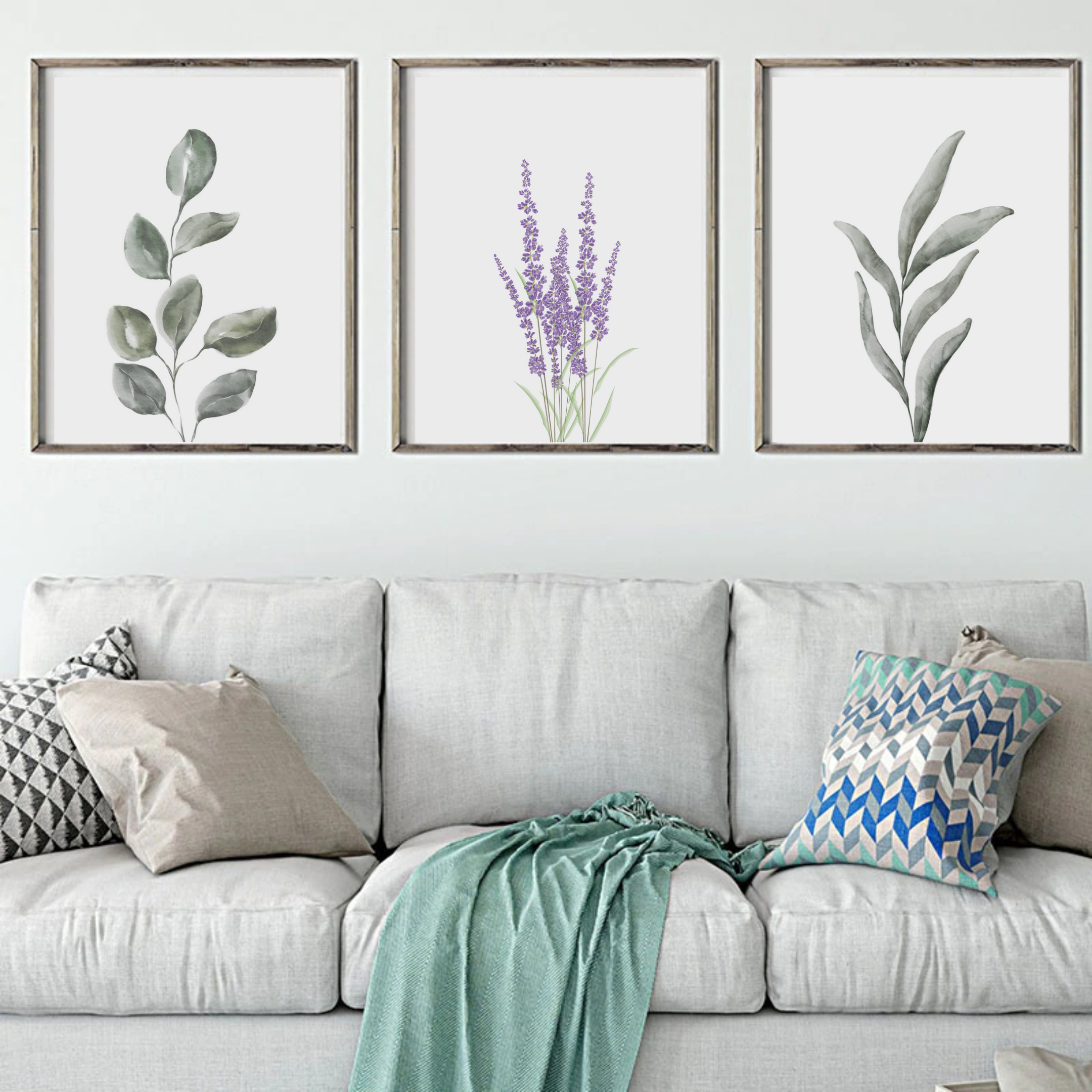 3 Piece Wall Artbotanical Postereucalyptus Printbotanical Etsy 3 Piece Wall Art Decor Wall Art Living Room