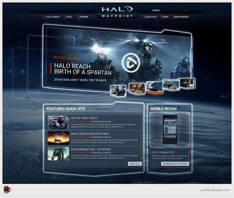 Halo Waypoint / Paul Lee Design / #dark #halo #game | Game UI Design