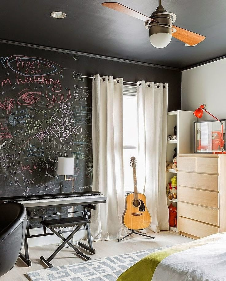 21 Creative Accent Wall Ideas For Trendy Kids Bedrooms: 27 Awesome Chalkboard Bedroom Ideas You'll Love