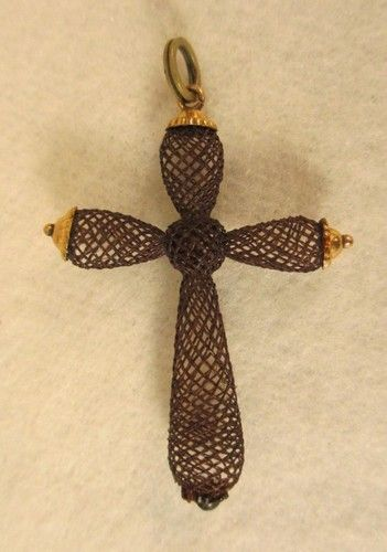 Vintage Woven Human Hair Mourning Cross