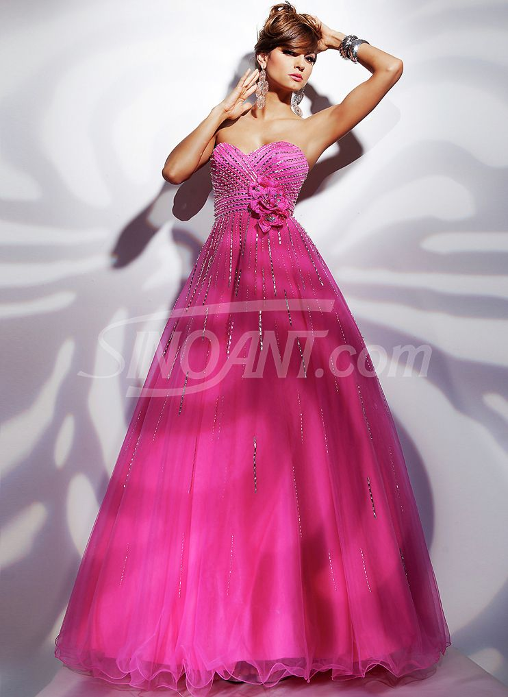 5058a4af31d Charming Fuchsia Ball Gown Sweetheart Neckline Sequins Floor Length Tulle  Graduation Dress