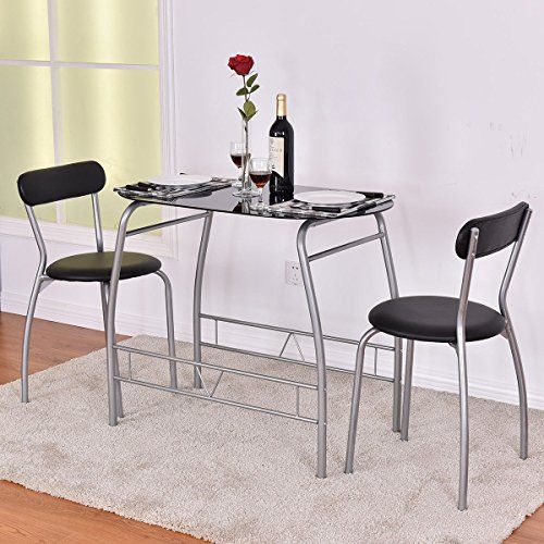 7203dab0859 MD Group Bistro Dining Set 3-Pieces Room Glass Table w  2 Chairs Premium  Steel   Tempered Glass