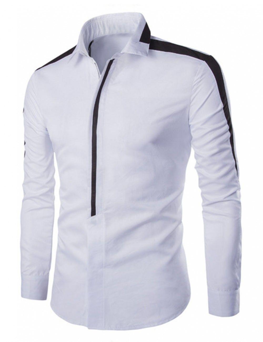 Mens Korean Color Stitching Fashion Long Sleeve Slim Cotton Leisure T Shirt Tops